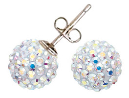 Swarovski Crystal Pave Stud Earrings Iridescent