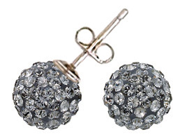 Swarovski Crystal Pave Stud Earrings Black Diamond
