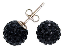 Swarovski Crystal Pave Stud Earrings Jet Black