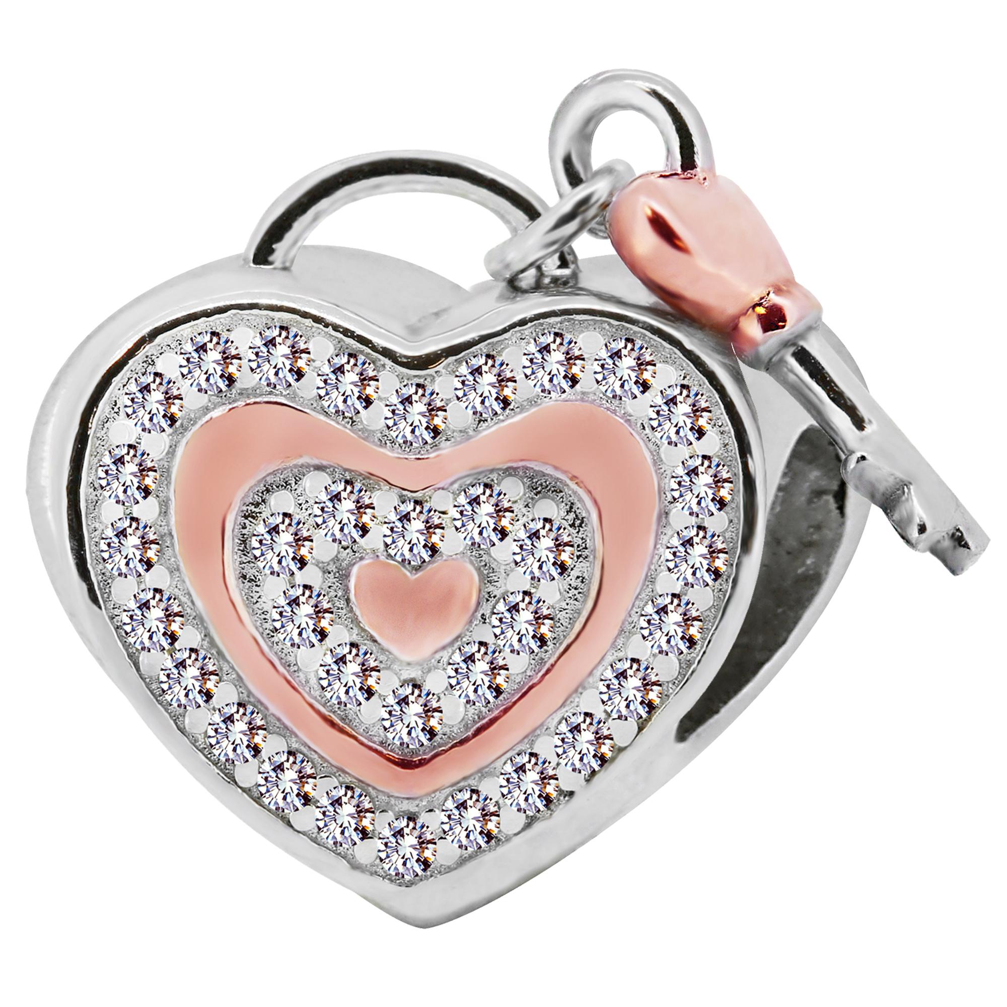 heart lock two tone w cz love hearts beads zable jewelry