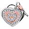 Heart Lock & Key, Two-Tone w/CZ